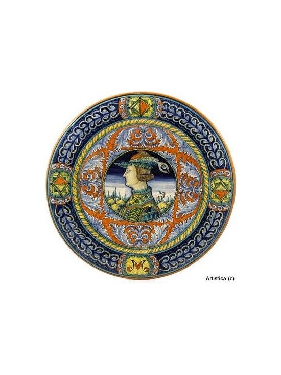 Artistica - Hand Made in Italy - Deruta: Large Renaissance Wall Plate Noblemen - Detura: