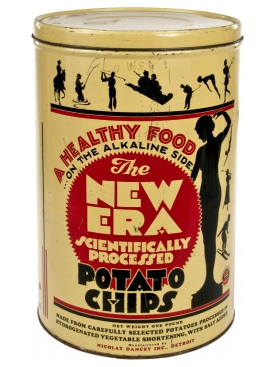 Potato Chip Tin - Vintage Frito-Nicolay, Dancey Co. (before it became just Frito-Lay) New Era potato chip can from the 40's.