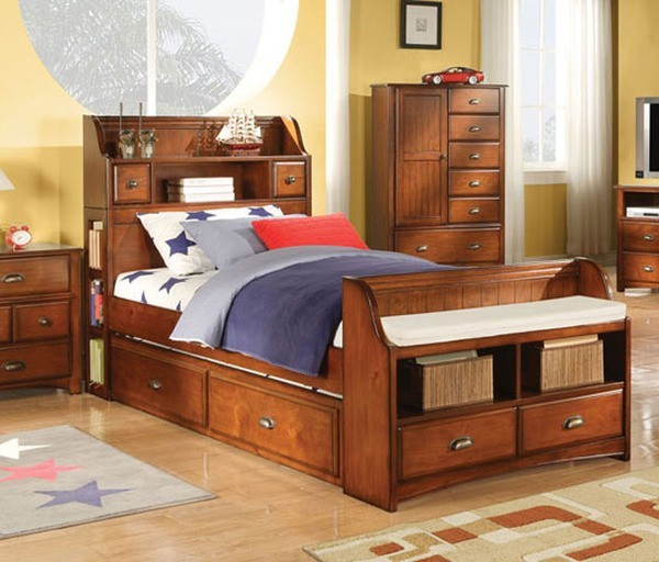 Acme Furniture - Brandon Oak Twin Bed with Storage Bookcase ...