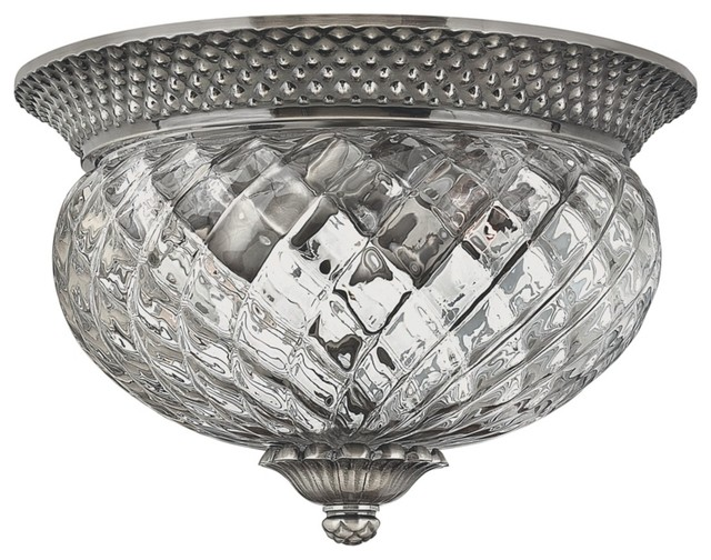 "Country - Cottage Plantation Collection Antique Nickel 12"" Wide Ceiling Light traditional-ceiling-lighting"