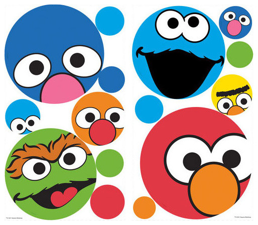 Sesame Street Polka Dot Faces Wall Sticker Set 27pc Decals - Contemporary - Wall Decals - by ...