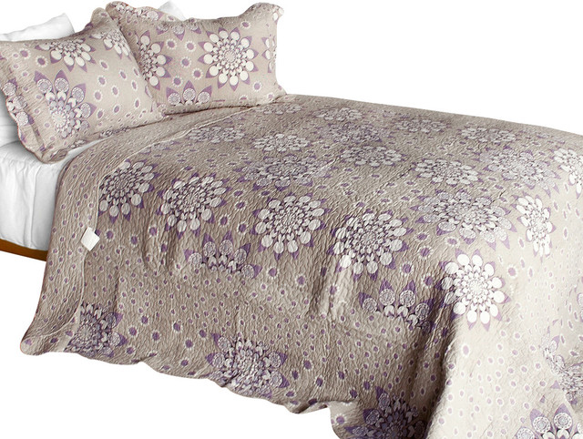 [Papillon]3PC Cotton Contained Vermicelli-Quilted Patchwork Quilt Set Full/Queen contemporary-quilts