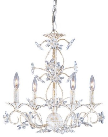 Crystorama Abbie Mini Chandelier - 18W in. Antique White traditional-chandeliers