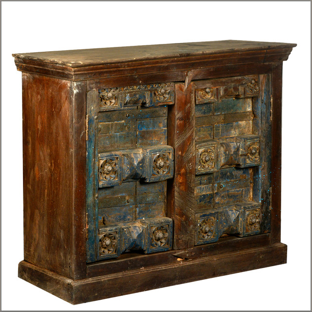 Reclaimed Wood Antique Door Storage Buffet Accent Cabinet