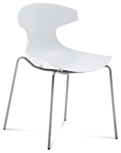 Echo Stacking Chair in White - Set of 2 modern-dining-chairs