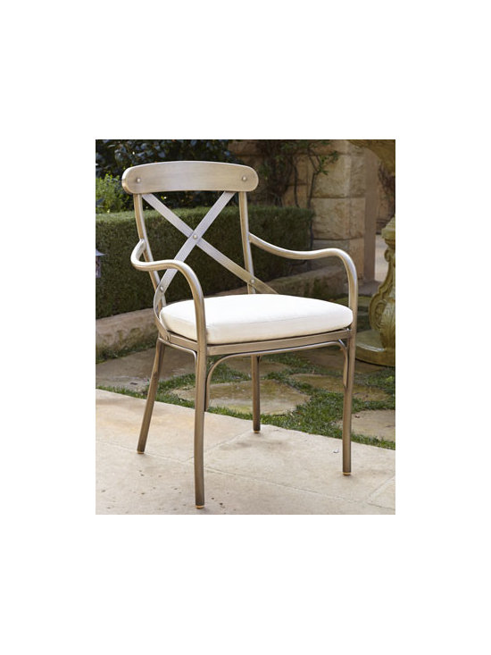 Horchow - Bordeaux Outdoor Bistro Armchair with Cushion - Classic European bistro armchair brings Continental flair to outdoor entertaining. Made of hand-wrought anodized steel plated for rust resistance Four-step hand-applied, weathered, powder-coat finish. Sunbrella® fabric upholstery. Supports up t...