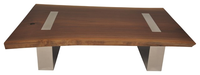 Walnut Top Coffee Table with Metal Legs - Contemporary - Coffee Tables - miami - by Rotsen Furniture