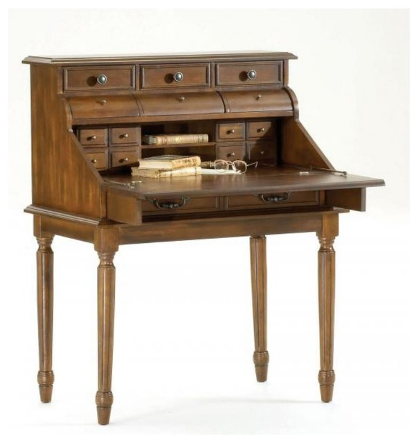 Bernards Ornate Dark Pecan Secretary Desk - traditional - desks