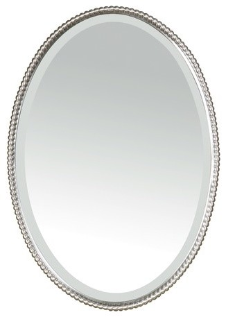 Sherise beaded oval mirror in brushed nickel modern bathroom mirrors by wayfair for Bathroom mirrors brushed nickel