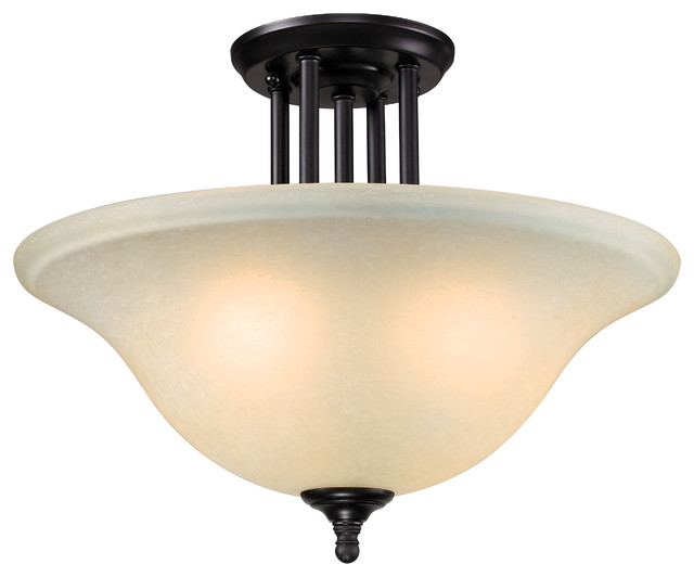 Athena Bronze Three-Light Semi-Flush-Mount Fixture