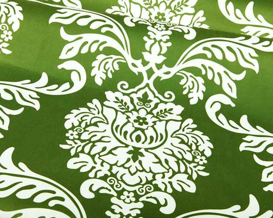 Rimetian Damask Upholstery Fabric in Blade Green - Rimetian Damask Upholstery Fabric in Blade Green has a suede-like texture with a contemporary color and pattern. Ideal for upholstering furniture or creating accent pillows, this sweeping floral damask will add a touch of drama to your interior design. Now available online, by the yard, with FabricSeen's signature discount. Made from 100% polyester, this fabric passes 40,000 double rubs on the Wyzenbeek Abrasion Test. Cleaning Code: W; UFAC: Class I; passes CA117 Test. Width: 54″; Repeat: 13.75″ V 27.5″H.