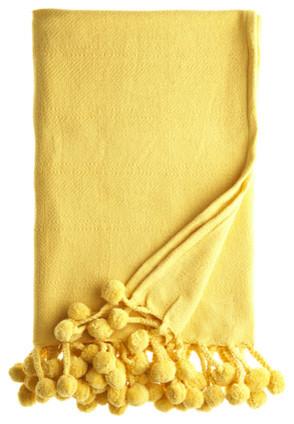 Pom Pom Blanket, Yellow modern-blankets