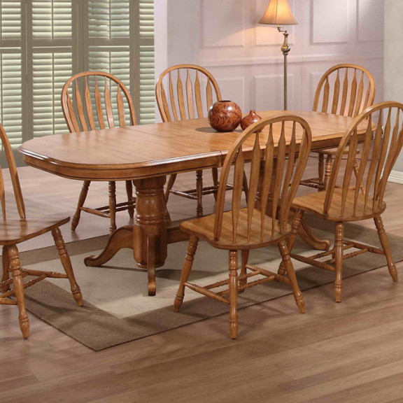 Double Pedestal Dining Table Rustic Oak Farmhouse Dining Tables