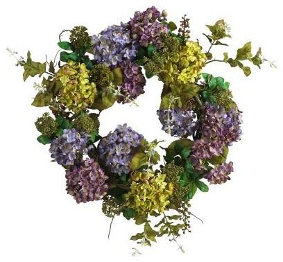 24-Inch Mixed Hydrangea Wreath modern-holiday-decorations
