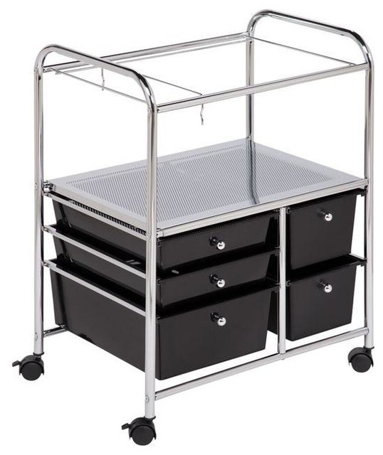 Honey-Can-Do File & Storage Cabinets 5-Drawer Hanging File Cart black CRT-01512 contemporary ...