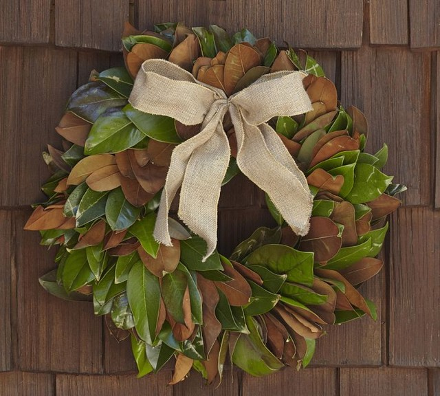 Live Magnolia Leaf Wreath With Burlap Bow contemporary outdoor decor