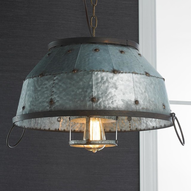 Industrial Caged Pendant With Rivets: Industrial Riveted Galvanized Dome Pendant