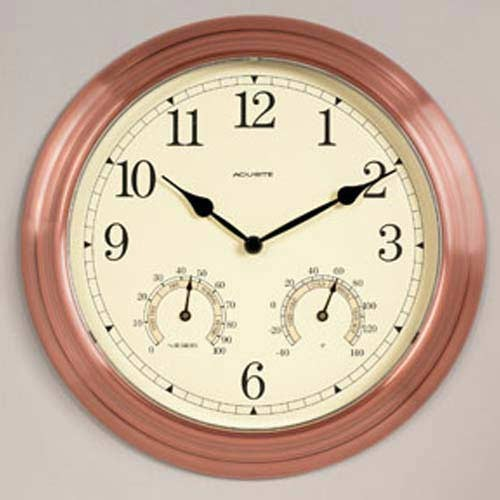 Copper Outdoor Clock with Thermometer and Hygrometer modern-outdoor-clocks