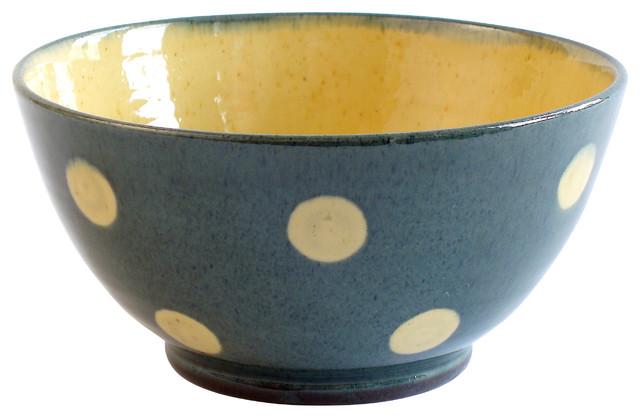 "Polka-Dot Ice Cream Bowl, Blue, 5""w X 2.5""h farmhouse-dining-bowls"
