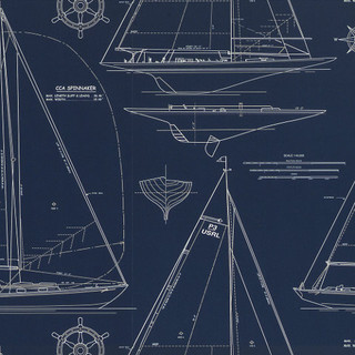 Chesapeake novelty white line on navy traditional for Wallpaper home line