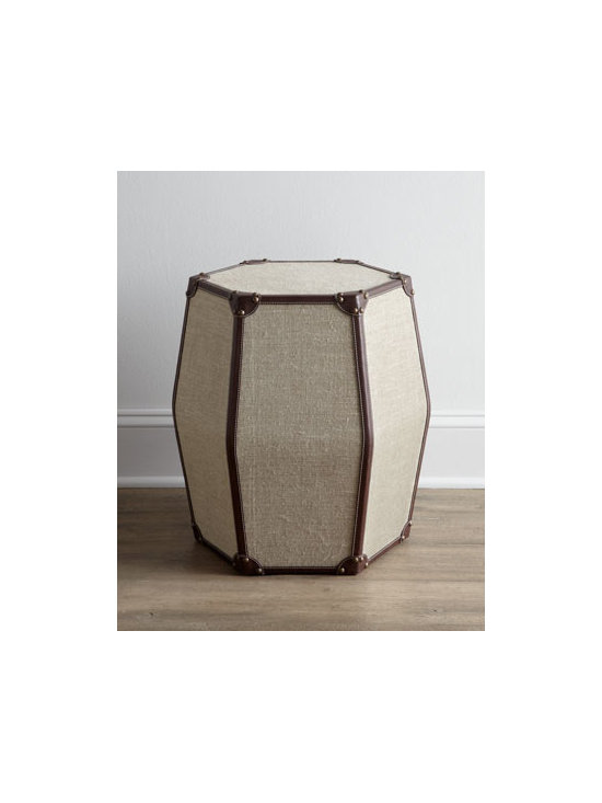 """Horchow - Chaitu Side Table - This elegant side table blends linen, brown leather, and brass tacks for a look that mimics a classic suitcase design. Handcrafted. Fame made of select hardwoods. 19""""Dia. x 20""""T. Imported. Boxed weight, approximately 26 lbs. Please note that this..."""