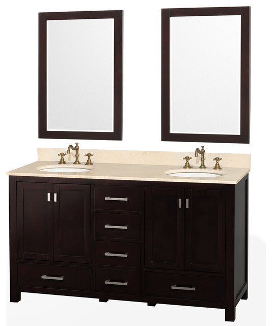 "Wyndham Collection 60"" Abingdon Espresso Double Sink Vanity w/ Two 24"" Mirrors transitional-bathroom-vanities-and-sink-consoles"