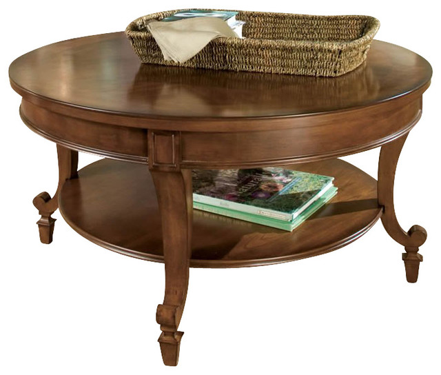 Magnussen Aidan Round Wood Cocktail Coffee Table In Cinnamon Brown Traditional Coffee