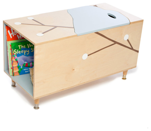 modern toy storage The Maude Toy Box with Book Cubby by Mod Mom Furniture