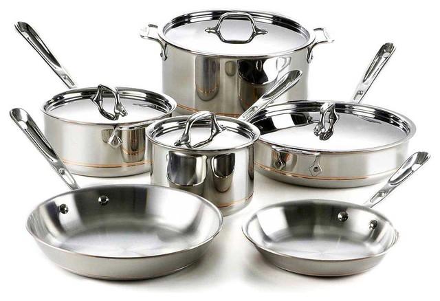 All Clad Copper Core Cookware Set, 10 pc. contemporary-cookware