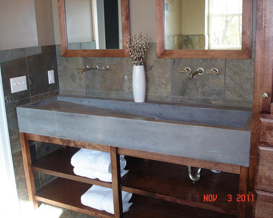 Custom Concrete Trough Sink - We created a custom mold and cast this fantastic double faucet trough sink.