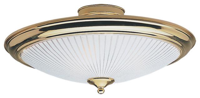 Shop Sea Gull Lighting 3 Light Melody Brushed Nickel: Sea Gull Lighting 7457-02 Flush Mount Polished Brass Flush