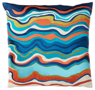 """Trina Turk Blue/Multicolored """"Waterflow"""" Pillow, 20""""Sq. traditional-decorative-pillows"""