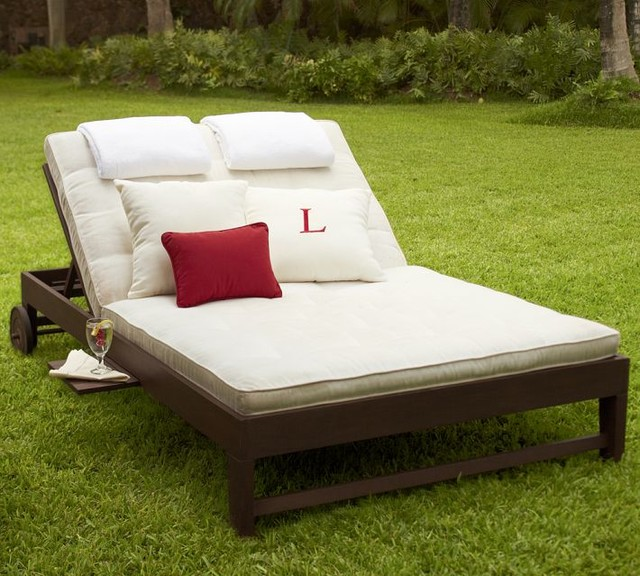 Chesapeake Double Chaise And Cushion Traditional Outdoor Chaise Lounges
