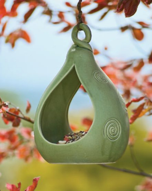 Celadon Pottery Birdfeeder asian outdoor decor