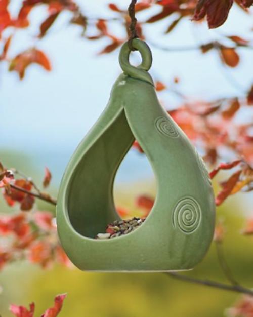 Celadon Pottery Birdfeeder asian-outdoor-decor