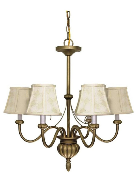 """Nuvo Lighting - Nuvo Vanguard 5 Light 24"""" Chandelier with Ecru Diamond Shades - The 1940's are back with a hint of today. Available in Flemish Gold or Textured Black finishes and complimented by Ecru diamond patterned Shantung shades or Gold Washed Alabaster Swirl glass, the Vanguard collection makes a beautiful and timeless addition to any room."""