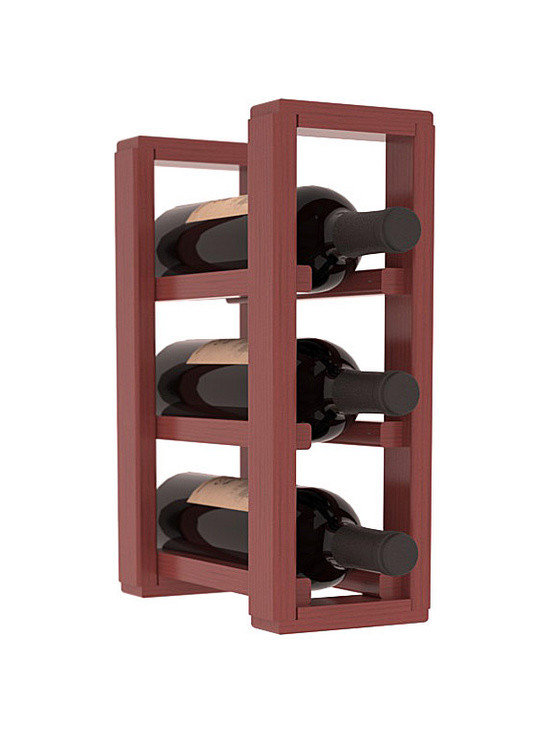 Wine Racks America® - 3 Bottle Counter Top/Pantry Wine Rack in Pine, Cherry Stain + Satin Finish - These counter top wine racks are ideal for any pantry or kitchen setting.  These wine racks are also great for maximizing odd-sized/unused storage space.  They are available in furniture grade Ponderosa Pine, or Premium Redwood along with optional 6 stains and satin finish.  With 1-10 columns available, these racks will accommodate most any space!!