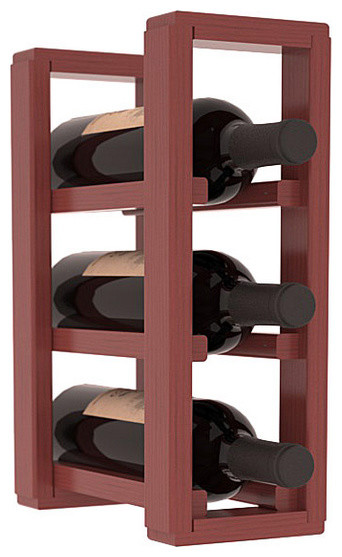 3 Bottle Counter Top/Pantry Wine Rack in Pine, Cherry Stain + Satin Finish contemporary-wine-racks