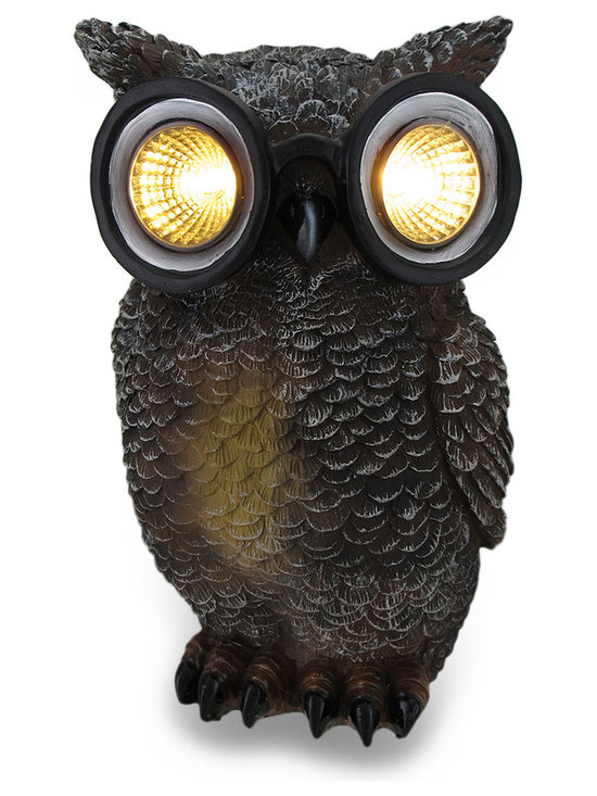 Zeckos - Owl Solar Powered Outdoor Accent Light - This owl figure adds an adorable accent to your garden or flower bed. It has solar powered light up eyes with silver reflectors to help light your pathway in the dark. Made of cold cast resin, it measures 8 1/2 inches tall 5 3/4 inches wide and 5 1/2 inches deep. The lights are controlled by an on/off switch next to the solar panel, and the rechargeable batteries are replaceable so you can enjoy this garden statue year after year..