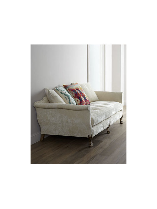 """Old Hickory Tannery - Old Hickory Tannery """"Ginger Fiesta"""" Sofa - This sofa proves the power of perfectly mixed elements, from the neutral luxe of its ivory velvet to its pops of color and the unexpected formality of the ball-and-claw legs. Cream velvet with button-tufted seat cushion. Includes five pillows as shown..."""