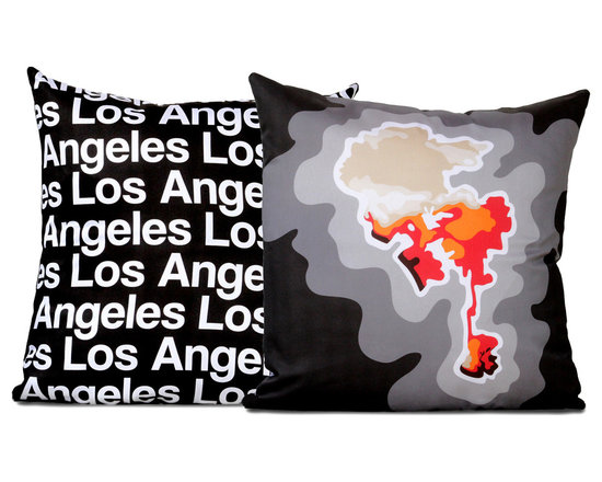 """Cartoloji - Los Angeles Map Pillow, Charcoal - The pillow features a topographical map of the city on the front and the city name text on the reverse. Pillow cover is made from 100%  certified organic cotton sateen and is printed with eco-friendly inks. Pillow insert is a non-allergenic faux-down poly-fill. Pillow dimensions: 17"""" x 17"""". Hand wash or dry clean. Made in the USA. Listing is for 1 double sided pillow."""