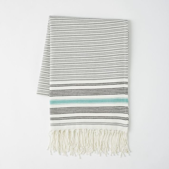 Tassel Blanket, Feather Gray modern-throws