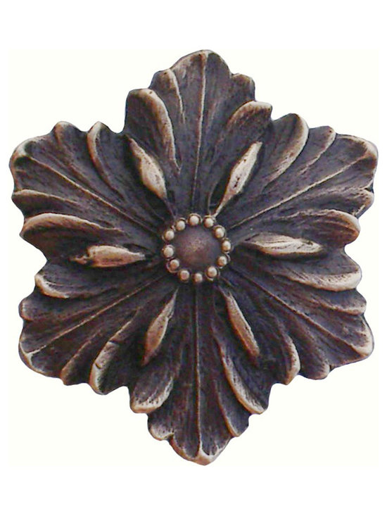 """Notting Hill - Notting Hill Opulent Flower Knob - Antique Solid Bronze - Notting Hill Decorative Hardware creates distinctive, high-end decorative cabinet hardware. Our cabinet knobs and handles are hand-cast of solid fine pewter and bronze with a variety of finishes. Notting Hill's decorative kitchen hardware features classic designs with exceptional detail and craftsmanship. Our collections offer decorative knobs, pulls, bin pulls, hinge plates, cabinet backplates, and appliance pulls. Dimensions: 1-5/8"""" diameter"""