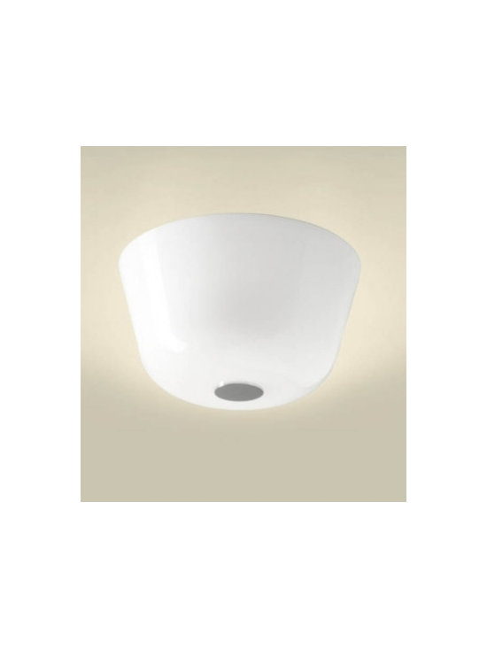 Ayers PL38 Ceiling Lamp By Leucos Lighting - Ayers PL38 Ceiling Lamp by Leucos is a ceiling lamp that has a hand blown glass diffuser finished in gloss black, gloss white or gloss red.