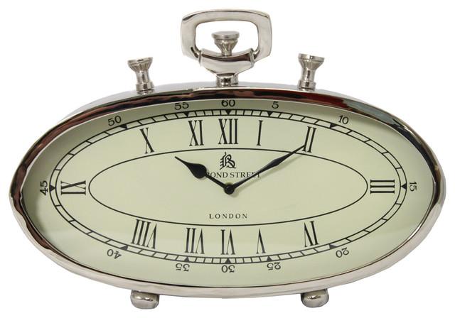 "49 Bond Street Classic 16"" Polished Nickel Metal Table Clock desk-and-mantel-clocks"