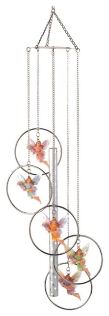 Wind Chime 5-Ring Polyresin Charm Fairy Hanging Garden Decoration farmhouse-outdoor-decor