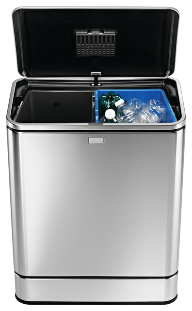 simplehuman Stainless Steel Rectangular Sensor 12-gallon Recycler Can - Contemporary - Trash ...