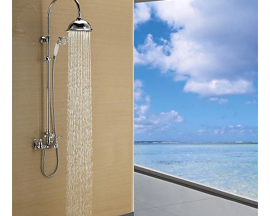 Shower Faucets - Chrome Finish Contemporary Single Lever Rain Shower Faucet--FaucetSuperDeal.com