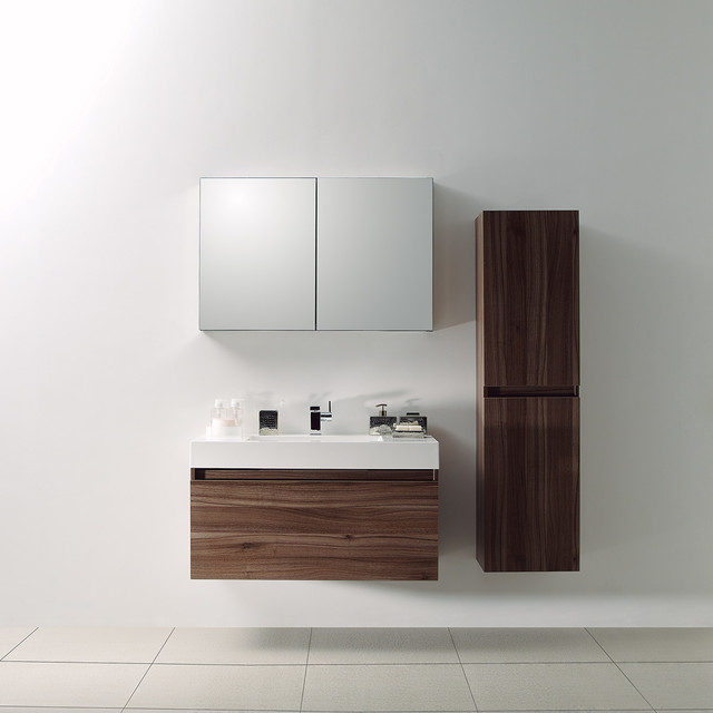Milano Stone Bagno Walnut Designer Bathroom Wall Mounted Vanity Unit 1000 M