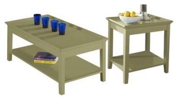 Riverside Splash of Color Rectangular Coffee Table Set - Ivy Green modern-coffee-tables